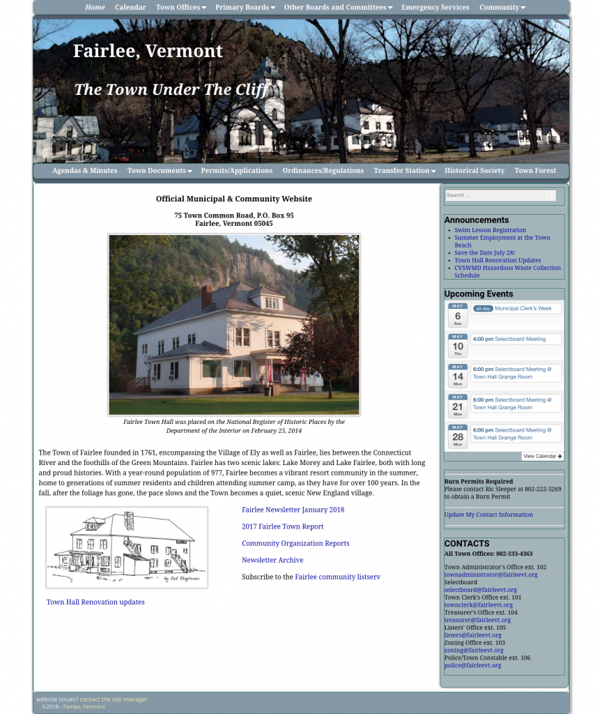 Fairlee Town website as of May 2018
